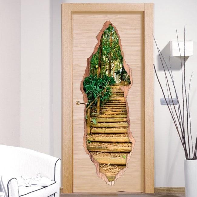 Vinyls pour escalier de portes dans la forêt 3D