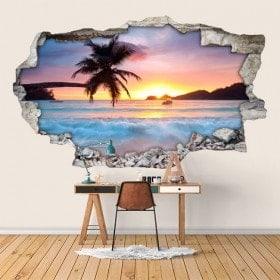 Vinyl 3D coucher de soleil sur la plage