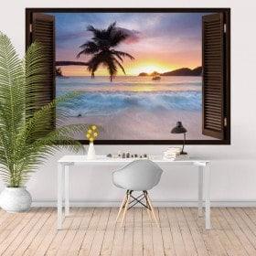Windows au coucher du soleil du vinyle sur la plage 3D