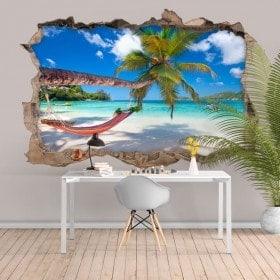Hamac de vinyle 3D sur la plage