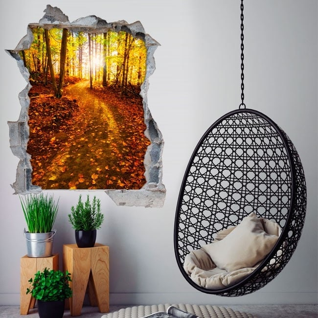 Rayons 3D vinyle du soleil dans la forêt