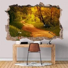 Vinyle trou mur 3D route dans la forêt