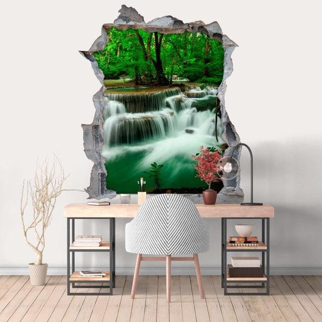 Nature de cascades 3D vinyle trou mur