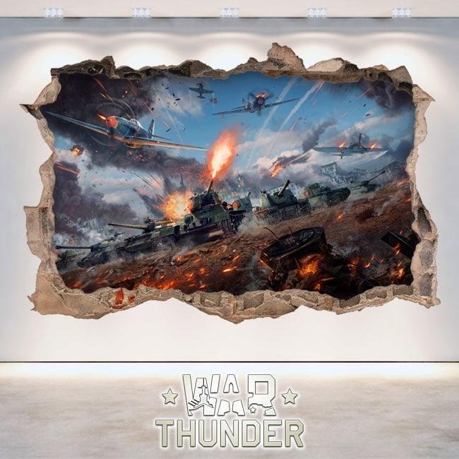 Décoratif vinyl 3D Thunder bataille chars