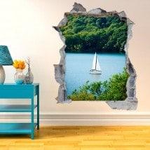 Le voilier décoratif en vinyle sur lac 3D