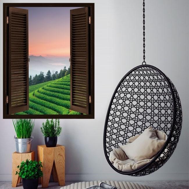 Windows dans le thé de plantation 3D de vinyle