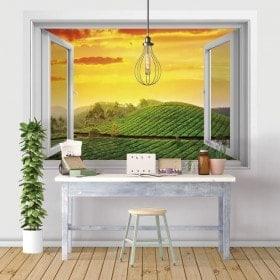 Windows en 3D coucher de soleil d'Inde vinyle dans le domaine