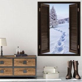 Windows dans les montagnes enneigées 3D de vinyle