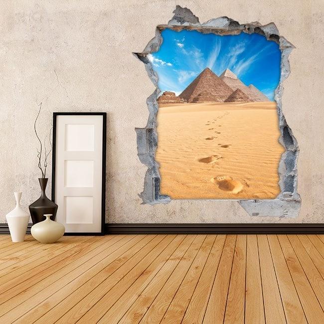 Vinyle murale 3D pyramides de Gizeh