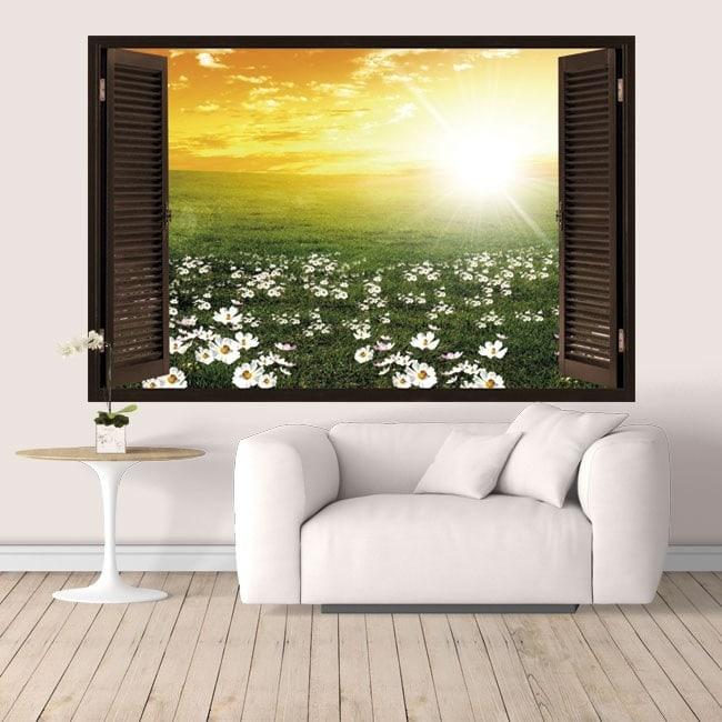 Coucher du soleil vinyl windows 3D dans le domaine