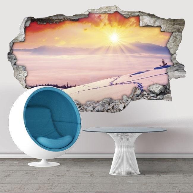 Vinyle décoratifs 3D coucher de soleil des montagnes enneigées