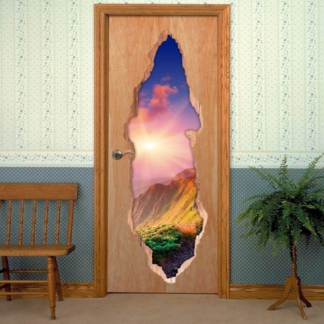 Vinyls pour sunset 3D de portes dans les montagnes