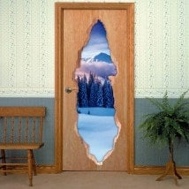 Vinyls pour montagnes neigeuses 3D de portes
