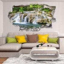 Chutes d'eau décoratifs de vinyle dans la forêt 3D
