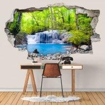 Chutes d'eau 3D de vinyle dans la forêt tropicale