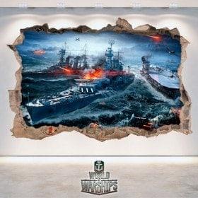 Vinyle et autocollants 3D World de navires de guerre
