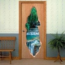 Nature de vinyle portes cascades 3D