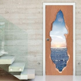 Coucher de soleil sur vinyle portes 3D mer