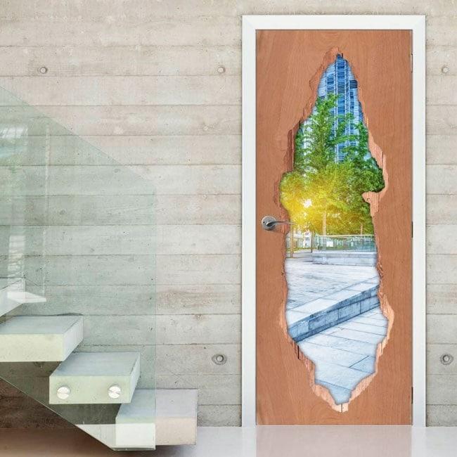 Coucher de soleil dans le vinyle 3D portes de ville
