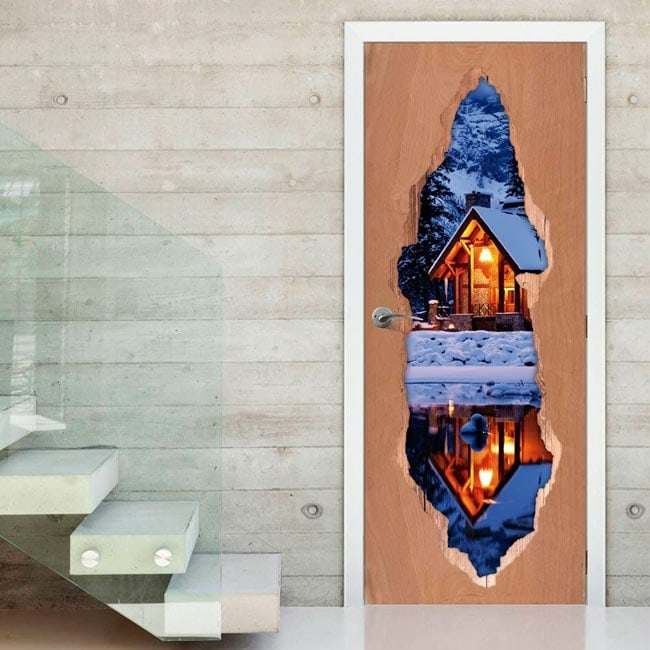 Hutte de vinyle de portes en hiver 3D