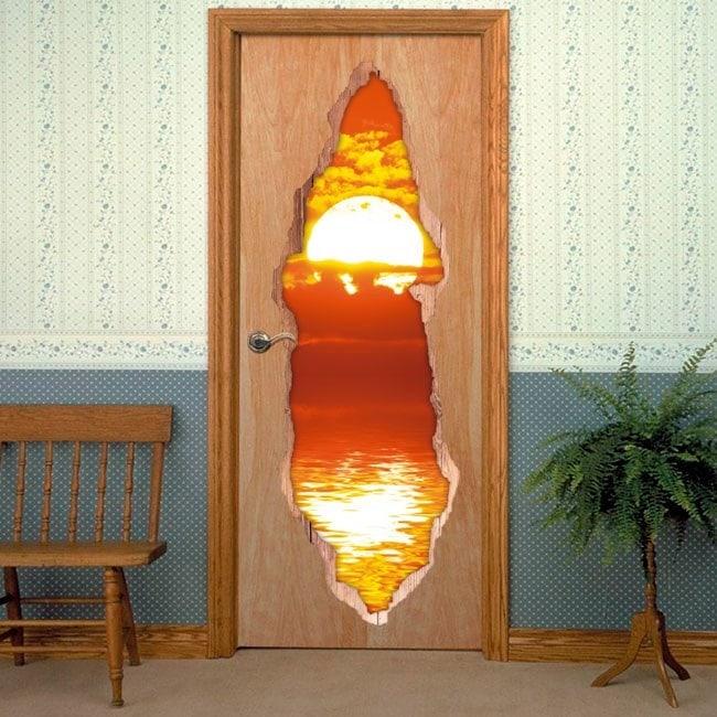 Portes coucher de soleil sur mer 3D pour vinyles