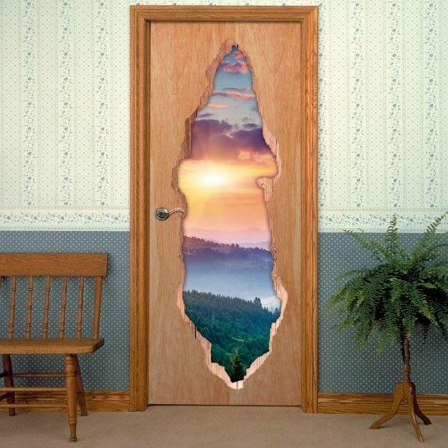 Coucher du soleil de portes en montagnes 3D pour vinyles