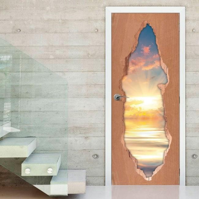 Portes 3D vinyle soleil couchant sur la mer
