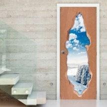 Vinyle de porte 3D montagnes neigeuses