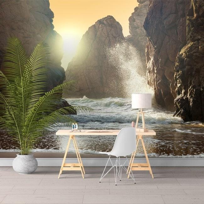Peintures murales photo soleil sur la plage