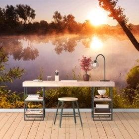 Photo mur murales coucher de soleil sur la rivière