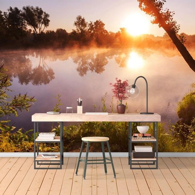 photo mur murales coucher de soleil sur la rivi re. Black Bedroom Furniture Sets. Home Design Ideas