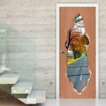 Vinyle pour route gates et arbres automne