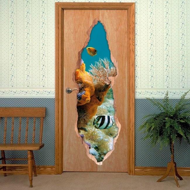 Monde marin de portes vinyle