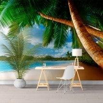 Peintures murales photo palmiers sur la plage