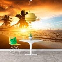 Photo mur murales sunset palmiers sur la plage