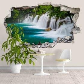 Chutes d'eau 3D de vinyle dans la forêt