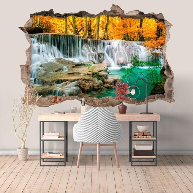 Cascades de vinyle dans la forêt 3D