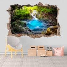 Nature de cascades et de puits décorative vinyl 3D