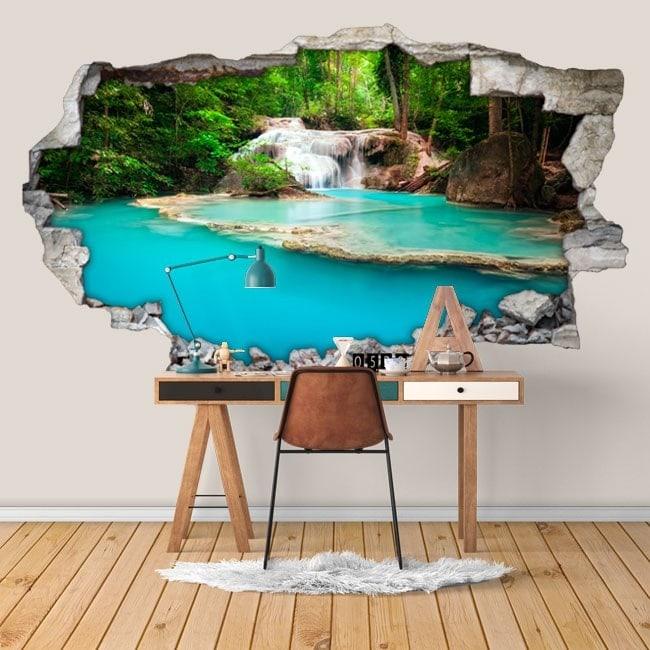 Décoratif vinyl 3D chutes d'eau dans la forêt