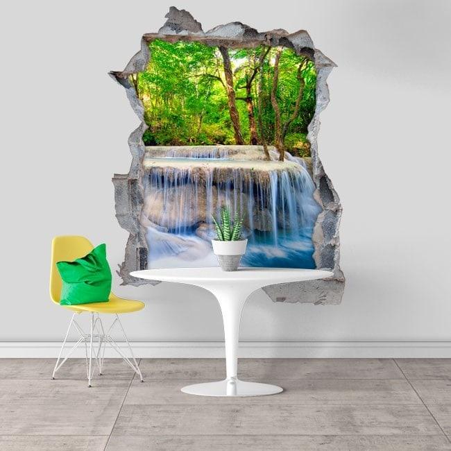 Cascades 3D vinyle décoratif dans la nature