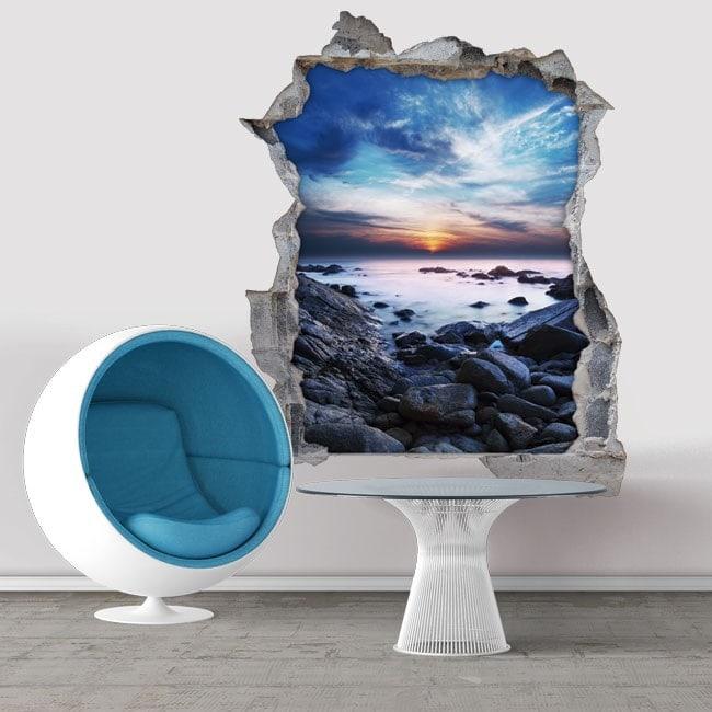 Décoratif vinyl 3D coucher de soleil dans la lagune