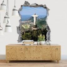 Décoratif vinyl 3D Christ Rédempteur