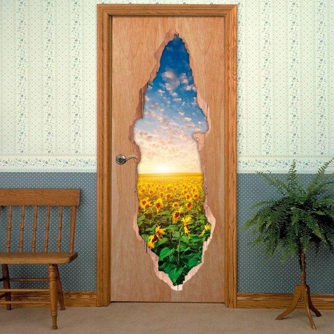 Vinyle portes tournesols 3D coucher de soleil