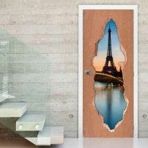 Vinyle pour portes Paris Tour Eiffel 3D