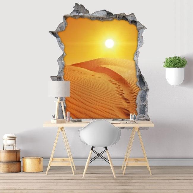Coucher de soleil dans le désert vinyle décoratif 3D