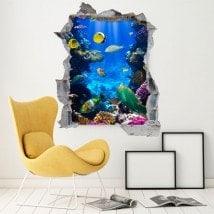 Poisson décoratif de vinyle sur le récif 3D