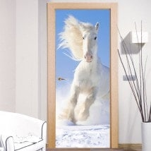 Décoratif vinyl portes cheval blanc neige