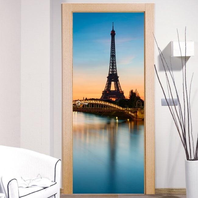 Porte décorative vinyle Tour Eiffel Paris