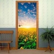 Tournesols de portes pour le coucher du soleil en vinyle