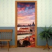 Décoratif vinyl portes Canal Venise